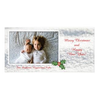 Merry Christmas Snow Photo Template Card Customised Photo Card