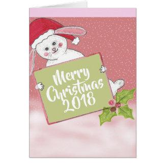 Merry Christmas Snow Rabbit Card