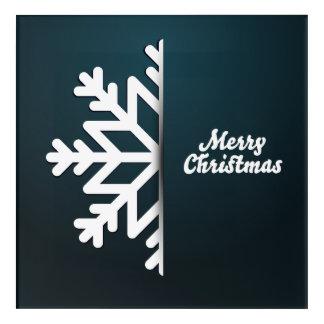 Merry Christmas Snowflake Blue Acrylic Wall Art