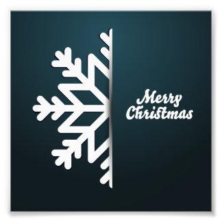 Merry Christmas Snowflake Blue Photograph
