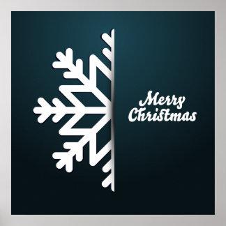 Merry Christmas Snowflake Blue Poster