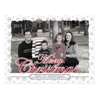 Merry Christmas Snowflake Custom Photo Postcards