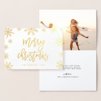 Merry Christmas Snowflake   Holiday Photo Gold Foil Card