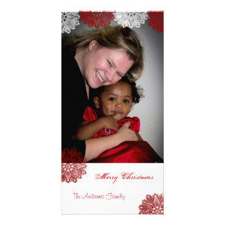 Merry Christmas Snowflake Lace Customized Photo Card