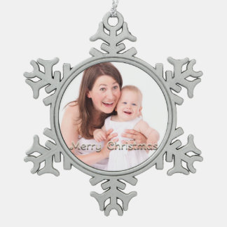 Merry Christmas Snowflake Personalized Photo Snowflake Pewter Christmas Ornament
