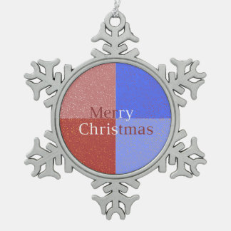 Merry Christmas Snowflake Pewter Christmas Ornament