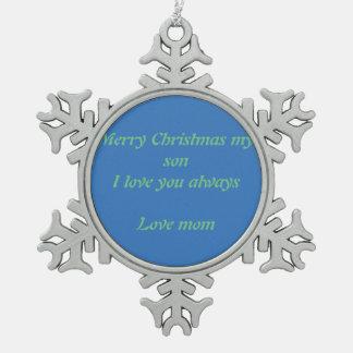 Merry Christmas snowflake Snowflake Pewter Christmas Ornament