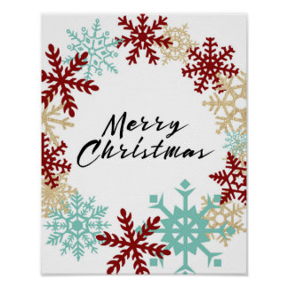 Merry Christmas - Snowflake Wreath - Poster