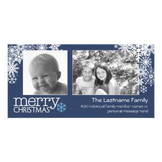 Merry Christmas Snowflakes - 2 photos - horizontal Customised Photo Card