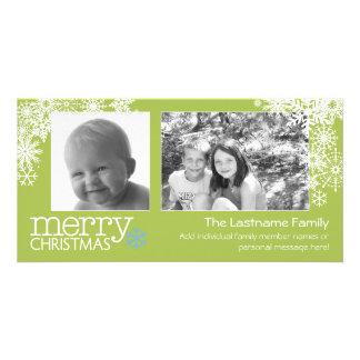 Merry Christmas Snowflakes - 2 photos - horizontal Picture Card