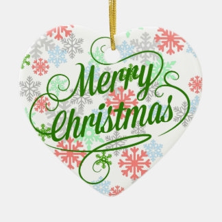 Merry Christmas Snowflakes Ceramic Heart Decoration