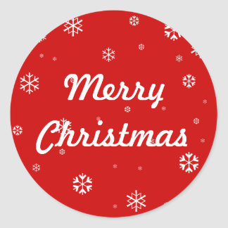 Merry Christmas Snowflakes Classic Round Sticker