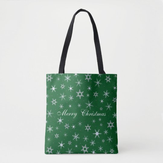 Merry Christmas Snowflakes Green Tote Bag