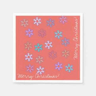 Merry Christmas Snowflakes Paper Napkin