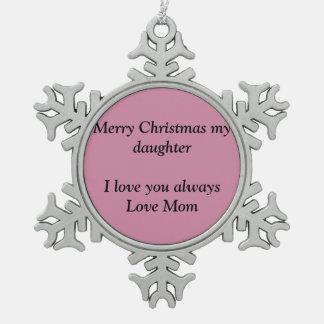 Merry Christmas snowflakes Snowflake Pewter Christmas Ornament