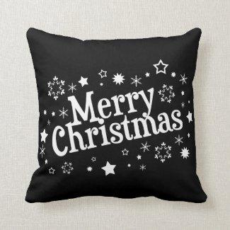 Merry Christmas Snowflakes Stars Black