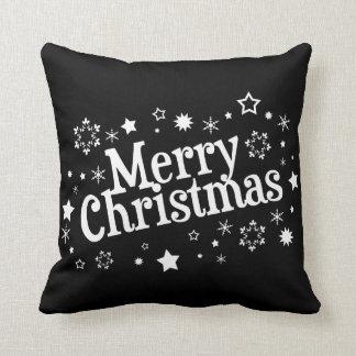 Merry Christmas Snowflakes Stars Black Throw Pillow