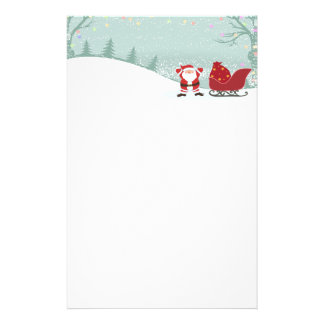 Merry Christmas snowing + Santa sleigh stationery