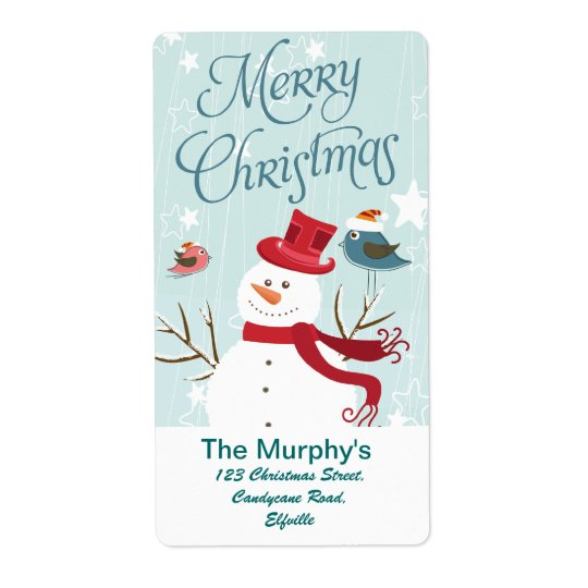 Merry Christmas Snowman and birds Christmas labels