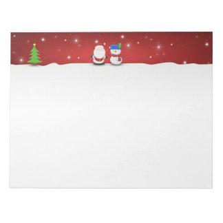 Merry Christmas Snowman and Santa - Notepad