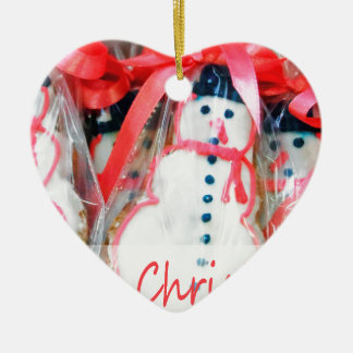 Merry Christmas Snowman Biscuit Christmas Ornament