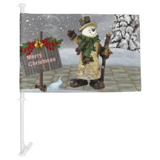 Merry Christmas Snowman Car Flag