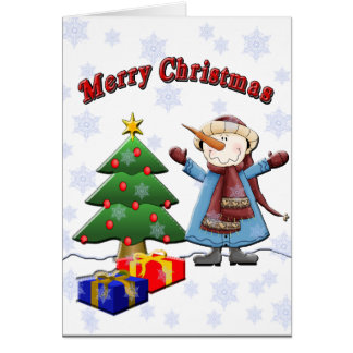 Merry Christmas Snowman Card