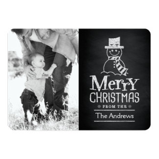 Merry Christmas Snowman Chalkboard Typography Card