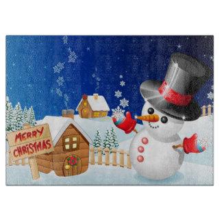 Merry Christmas Snowman Cutting Board