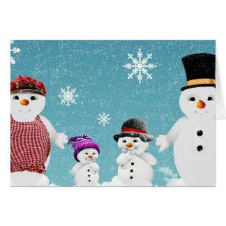 Merry Christmas Snowman Family Card