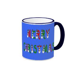 Merry Christmas Snowman Font Mug