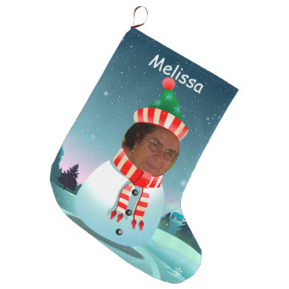 Merry Christmas Snowman Large Christmas Stocking