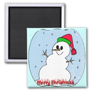 Merry Christmas Snowman Refrigerator Magnet