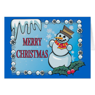 Merry Christmas Snowman Notecard