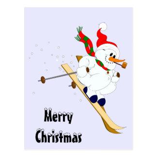 Merry Christmas Snowman On Skis Postcard