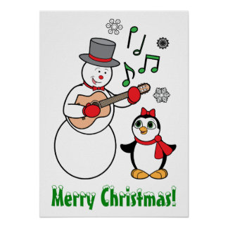 Merry Christmas Snowman, Penguin and Guitar Posters