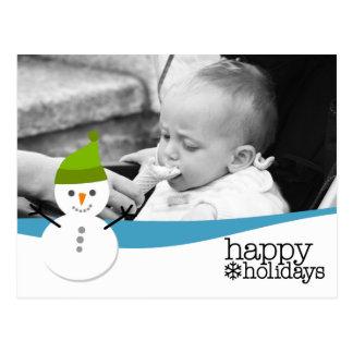 Merry Christmas - Snowman Photo Card Postcard
