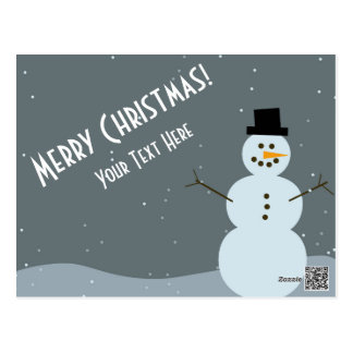 Merry Christmas - Snowman Postcard