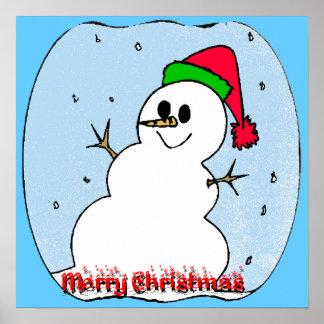 Merry Christmas Snowman Poster