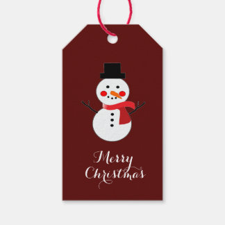 Merry Christmas Snowman Red Scarf/Burgudy  Design Gift Tags