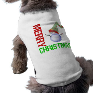 Merry Christmas Snowman Sleeveless Dog Shirt