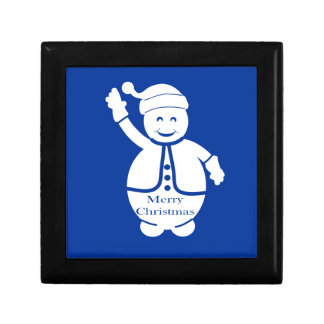Merry Christmas Snowman Small Square Gift Box