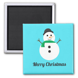 Merry Christmas Snowman Square Holiday Magnet