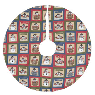 Merry Christmas Snowman Squares Brushed Polyester Tree Skirt