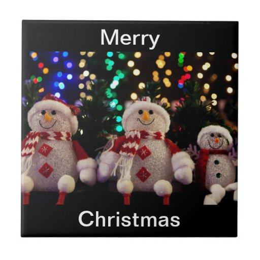 Merry Christmas Snowman Tile