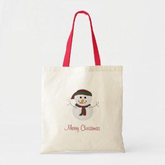 Merry Christmas Snowman Tote Bag