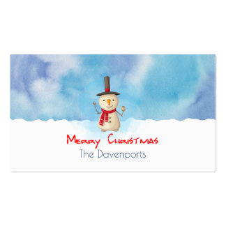 Merry Christmas Snowman Waving And Smiling Pack Of Standard Business Cards
