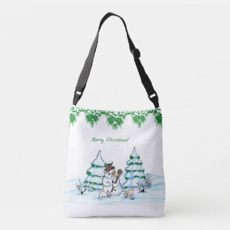 Merry Christmas! Snowman with Cat and Puppy Crossbody Bag