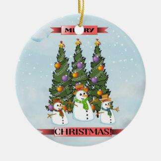 Merry Christmas Snowmen Christmas Tree Ornament