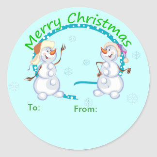 Merry Christmas Snowmen Gift Tag Stickers